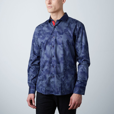 Premium Style Slim Button Down Shirt // Camo Navy
