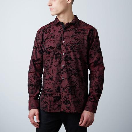 Premium Style Slim Button Down Shirt // Black Wine