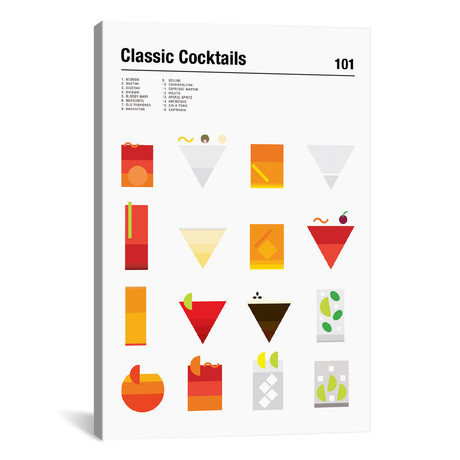 """Classic Cocktails 101 // Nick Barclay (18""""W x 26""""H x 1.5""""D)"""