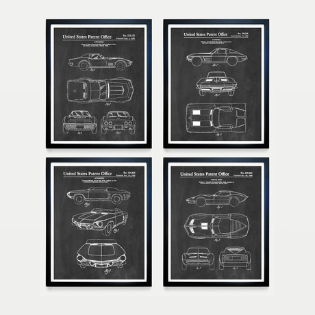 Corvette Patent Collection // 4 Print Set // Chalkboard