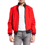 Contrast Stripe Bomber Jacket // Navy + Red (XS)