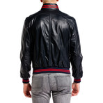 Contrast Stripe Bomber Jacket // Navy + Red (L)