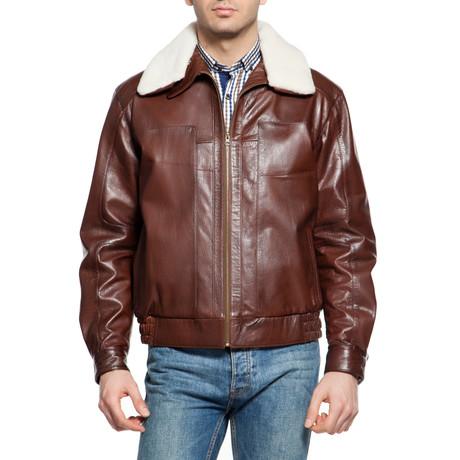 Faux Fur Trimmed Pilot Jacket // Brown