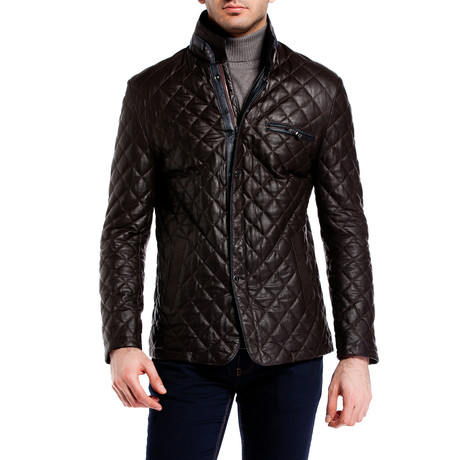 Quilted Snap Button Jacket // Brown (XS)