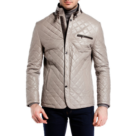 Quilted Snap Button Jacket // Gray (XS)