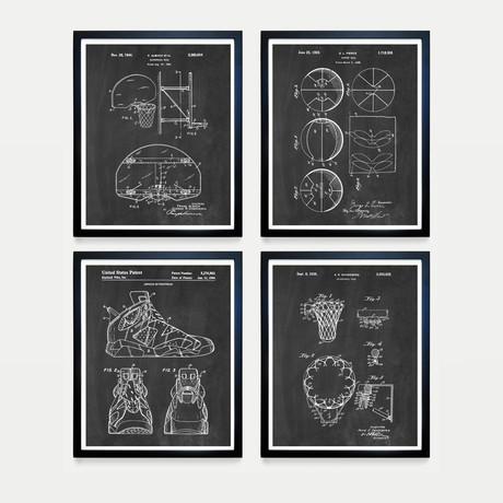 Basketball Patent Collection // 4 Print Set // Chalkboard