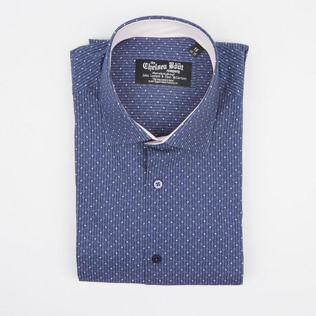 Regular Collar Shirt // Blue Pattern