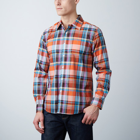 Connor Slim Shirt // Rust + Aqua Plaid