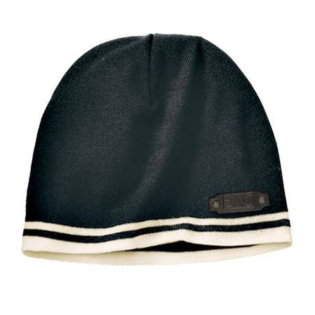 Fine Knit Skull Cap // Black + Tan