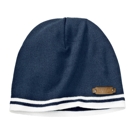 Fine Knit Skull Cap // Navy + White