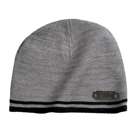 Fine Knit Skull Cap // Grey + Black