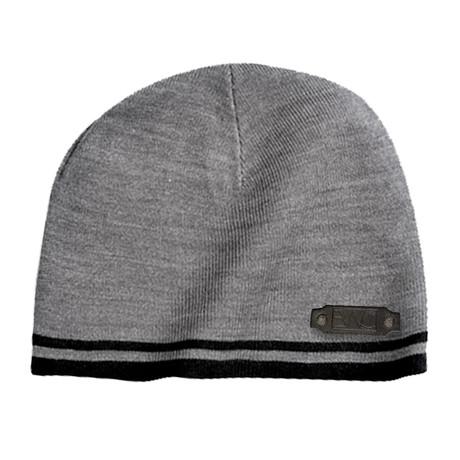 Fine Knit Skull Cap // Grey + Black