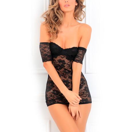 Seductively Stunning Dress + Thigh-High Set // Black (Small / Medium)