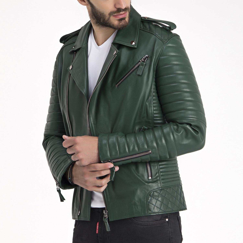 Beckett leather jacket green s iparelde touch of for Beckett tech support
