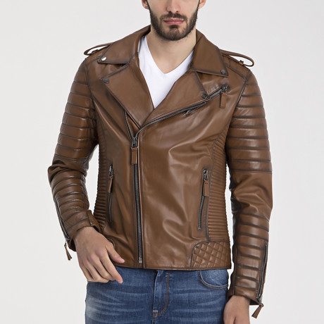 Beckett Leather Jacket // Light Brown (3XL)