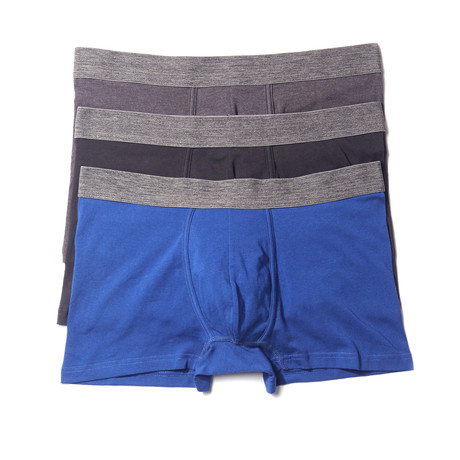 Stretch Boxer Brief // Blue + Black + Charcoal // Pack of 3 (S)