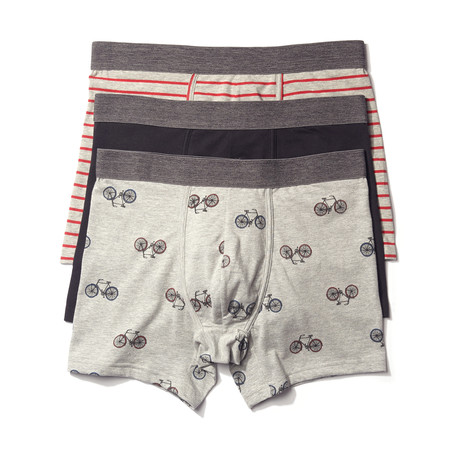 Boxer Brief // Black + Gray // Pack of 3 (S)