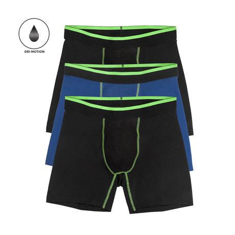 Performance Boxer Brief // Black + Blue // Pack of 3 (S)