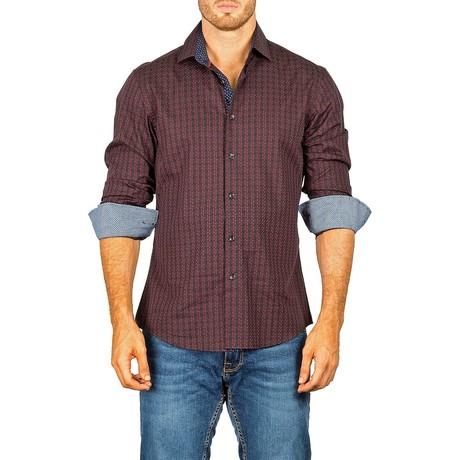 Dotted Long-Sleeve Button-Up Shirt // Burgundy