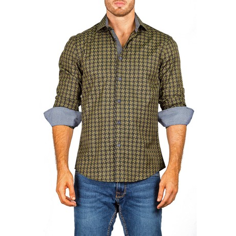 Checkered Long-Sleeve Button-Up Shirt // Olive