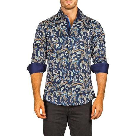 Long-Sleeve Button-Up Shirt // Navy Paisley