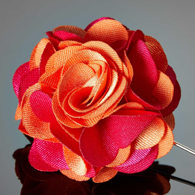 Duet Color Flower Lapel Pin // Orange + Magenta - DAPPERMAN - Touch ...
