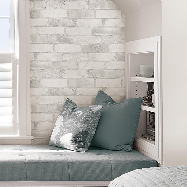Loft White Brick Peel Stick Wallpaper Brewster Home Fashions