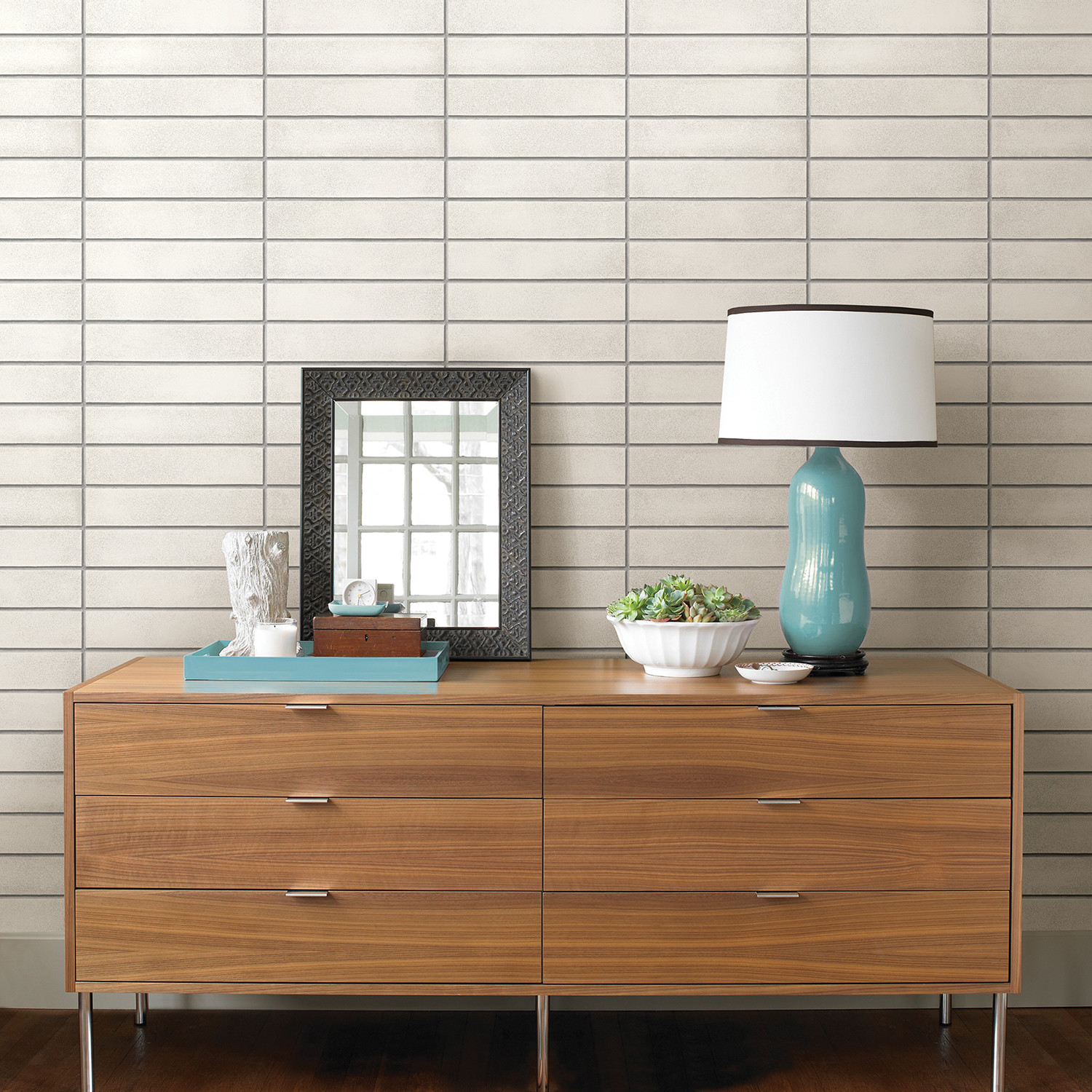 Picture of: White Mid Century Brick Peel Stick Wallpaper Brewster Home Fashions Touch Of Modern