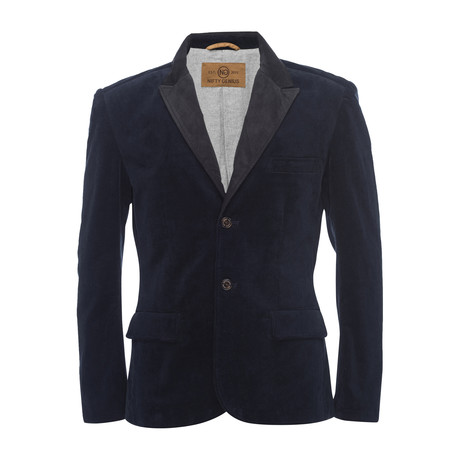 F. Scott Peaked Lapel Blazer in Stretch Corduroy // Navy (XS)