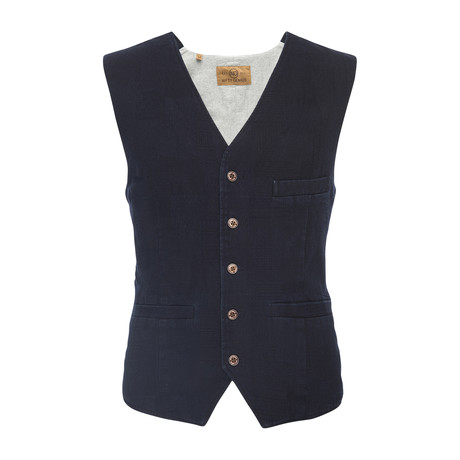 Albert Jacquard Vest // Indigo (XS)