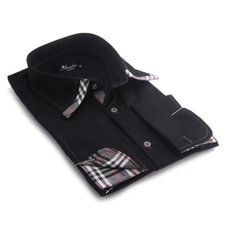 Reversible Cuff French Cuff Shirt // Black + Gray Plaid (S)