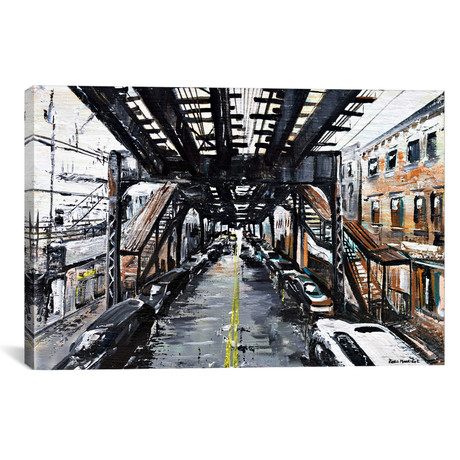 "Under The Train // Piero Manrique (18""W x 26""H x 0.75""D)"