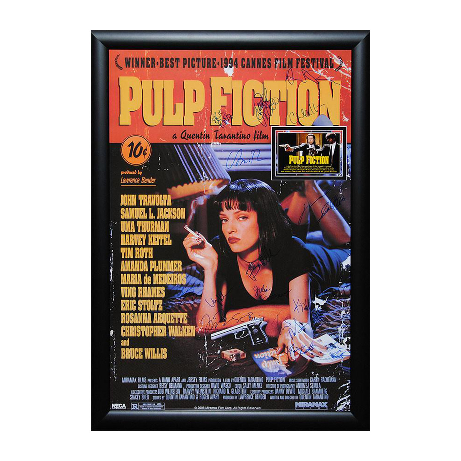 signed movie poster pulp fiction signed comedy
