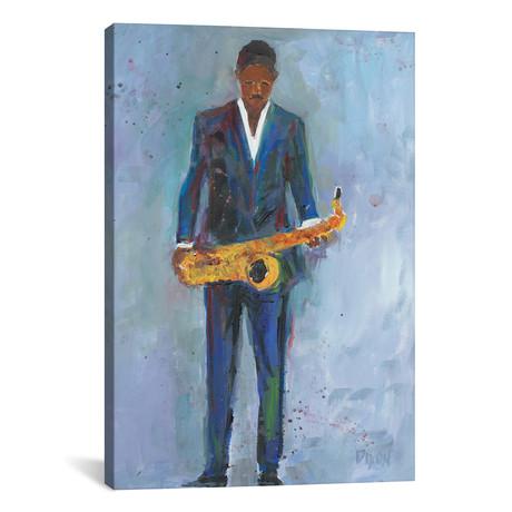 """Sax In A Blue Suit // Samuel Dixon (26""""W x 40""""H x 1.5""""D)"""