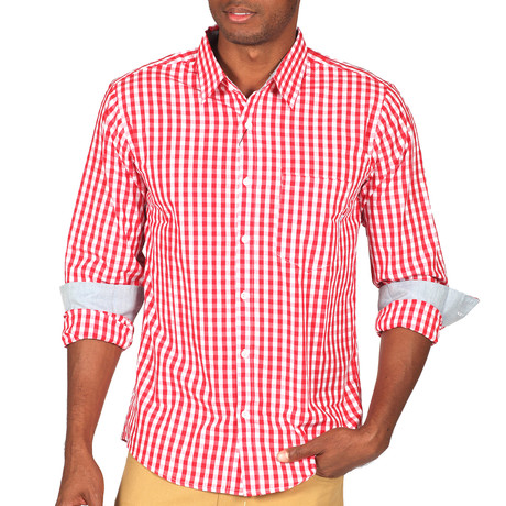 Howard Gingham Button-Up // Red + White (S)