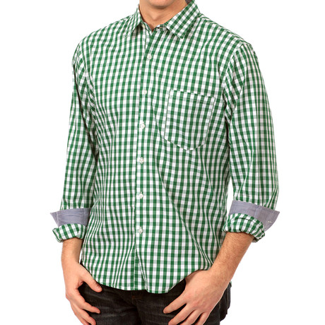 Howard Gingham Button-Up // Green + White (S)