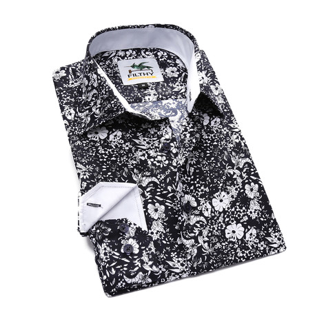 The Ashton Gritty Floral Button-Up // Black + White (S)