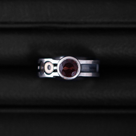 Time Ring // Gold Gears // Garnet (Size 54)