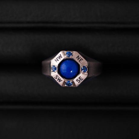 Sapphire + Lapis Lazuli Traveller Ring // Sterling Silver + 14K Gold (Size 54)