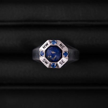 Sapphire + Lapis Lazuli Traveller Ring // Sterling Silver (Size 54)