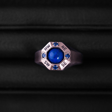 Sapphire + Lapis Lazuli Traveller Ring // Sterling Silver + 14K Rose Gold (Size 54)