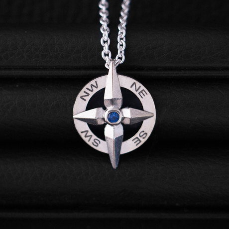 .10CT Sapphire Compass Necklace // Sterling Silver