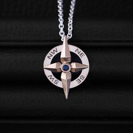 .10CT SapphireCompass Necklace // Sterling Silver + 14K Gold