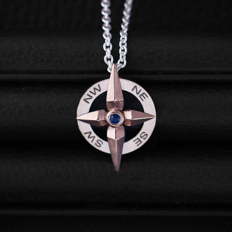 .10CT SapphireCompass Necklace // Sterling Silver + 14K Rose Gold