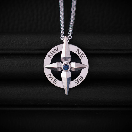 .18CT SapphireCompass Necklace // Sterling Silver