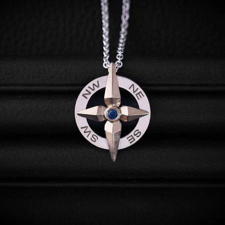 .18CT SapphireCompass Necklace // Sterling Silver+ 14K Gold