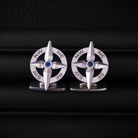 Sapphire Compass Cufflinks // Sterling Silver