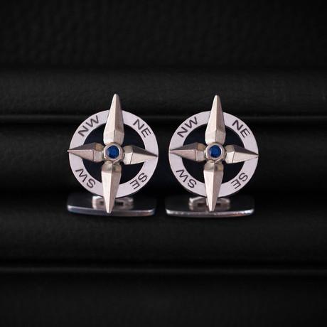 SapphireCompass Cufflinks // Sterling Silver + 14K Gold