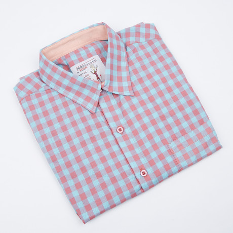 Howard Gingham Button-Up // Pink + Turquoise (S)