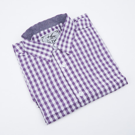 Greyson Check Button-Up // Purple + White (S)